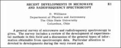 Thumbnail of RECENT DEVELOPMENTS IN MICROWAVE AND RADIOFREQUENCY SPECTROSCOPY