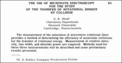 Thumbnail of THE USE OF MICROWAVE SPECTROSCOPY FOR THE STUDY OF THE TRANSFER OF ROTATIONAL ENERGY BY COLLISION