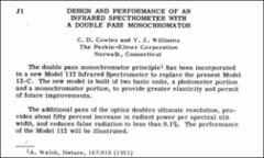 Thumbnail of DESIGN AND PERFORMANCE OF AN INFRARED SPECTROMETER WITH A DOUBLE PASS MONOCHROMATOR