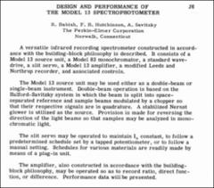Thumbnail of DESIGN AND PERFORMANCE OF THE MODEL 13 SPECTROPHOTOMETER