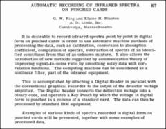 Thumbnail of AUTOMATIC RECORDING OF INFRARED SPECTRA ON PUNCHED CARDS