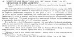 Thumbnail of RADIATIONLESS TRANSITIONS AND DEUTERIUM EFFECT ON LUMINESCENCE OF SOME $AROMATICS^{\ast}$