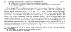 Thumbnail of ISOTOPE EFFECTS IN HYDROGEN $SELENIDE^{\ast}$
