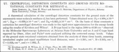 Thumbnail of CENTRIFUGAL DISTORTION CONSTANTS AND GROUND STATE ROTATIONAL CONSTANTS FOR $METHANE-d_{2}$