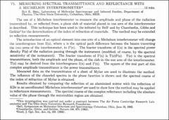 Thumbnail of MEASURING SPECTRAL TRANSMITTANCE AND REFLECTANCE WITH A MICHELSON $INTERFEROMETER^{\ast}$