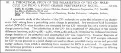 Thumbnail of A THEORETICAL STUDY OF THE POLARIZATION OF THE $CN^{-}$ MOLECULE ION USING A POINT CHARGE PERTURBATION MODEL