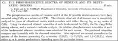 Thumbnail of THE PHOSPHORESCENCE SPECTRA OF BENZENE AND ITS DEUTERATED ISOMERS.