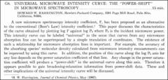 "Thumbnail of UNIVERSAL MICROWAVE INTENSITY CURVE THE ""POWER-SHIFT"" IN MICROWAVE SPECTROSCOPY."