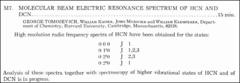 Thumbnail of MOLECULAR BEAM ELECTRIC RESONANCE SPECTRUM OF HCN AND DCN.