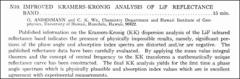 Thumbnail of IMPROVED KRAMERS-KRONIG ANALYSIS OF LiF REFLECTANCE BAND