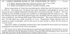 Thumbnail of CARBON DIOXIDE BANDS IN THE ATMOSPHERE OF VENUS.