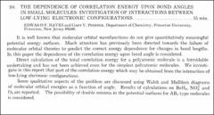 Thumbnail of THE DEPENDENCE OF CORRELATION ENERGY UPON BOND ANGLES IN SMALL MOLECULES: INVESTIGATION OF INTERACTIONS BETWEEN LOW-LYING ELECTRONIC CONFIGURATIONS.