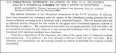 Thumbnail of VIBRATIONAL INTENSITY RELATIONS IN THE $V\leftarrow N$ TRANSITION AND THE TORSIONAL BARRIER OF THE V STATE OF ETHYLENE