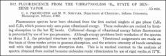 Thumbnail of FLUORESCENCE FROM THE VIBRATIONLESS *** STATE OF BENZENE VAPOR