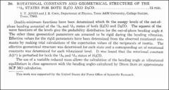 Thumbnail of ROTATIONAL CONSTANTS AND GEOMETRICAL STRUCTURE OF THE $^{1,2}\Lambda_{2}$ STATES FOR BOTH $H_{2}CO$ AND $D_{2}CO$