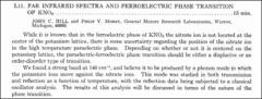 Thumbnail of FAR INFRARED SPECTRA AND FERROELECTRIC PHASE TRANSITION OF $KNO_{3}$