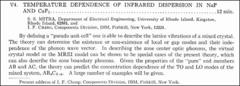 Thumbnail of TEMPERATURE DEPENDENCE OF INFRARED DISPERSION IN NaF AND $CaF_{2}$