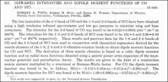 Thumbnail of INFRARED INTENSITIES AND DIPOLE MOMENT FUNCTIONS OF CO AND HCl.