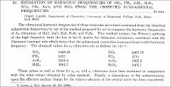 Thumbnail of ESTIMATION OF HARMONIC FREQUENCIES OF $NH_{3}, PH_{3}, AsH_{3}, SbH_{3}, ND_{3}, PD_{3}, AsD_{3}$ AND $SbD_{3}$ FROM THE OBSERVED FUNDAMENTAL FREQUENCIES.