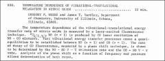 Thumbnail of TEMPERATURE DEPENDENCE OF VIBRATIONAL-TRANSLATIONAL RELAXATION IN NITRIC OXIDE