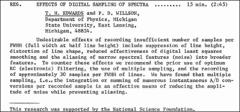 Thumbnail of EFFECTS OF DIGITAL SAMPLING OF SPECTRA