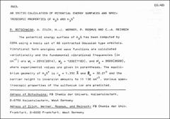 Thumbnail of AB INITIO CALCULATION OF POTENTIAL ENERGY SURFACES AND SPECTROSCOPIC PROPERTIES OF $H_{2}S$ AND $H_{3}S^{+}$