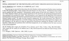 Thumbnail of INITIAL ASSIGNMENT OF THE PROTONATED ACETYLENE VIBRATION-ROTATION SPECTRUM