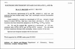 Thumbnail of ELECTRONIC SPECTROSCOPY OF RARE GAS ISOLATED $I_{2}$ AND IBr