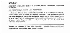 Thumbnail of INTENSITY ANOMALIES DUE TO A CORIOLIS RESONANCE IN THE SPECTRUM OF $H^{13}$ CNO