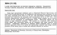Thumbnail of LASER SPECTROSCOPY OF EXOTIC CHEMICAL SPECIES: TRANSIENT, WEAKLY BOUND, REACTIVE, AND SURFACE ADSORBED MOLECULES