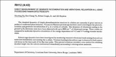Thumbnail of DIRECT MEASUREMENT OF GEMINATE RECOMBINATION AND VIBRATIONAL RELAXATION IN l2 USING PICOSECOND RAMAN SPECTROSCOPY.