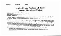 Thumbnail of Localized Mode Analysis Of Zeolite Complex Vibrational Motion