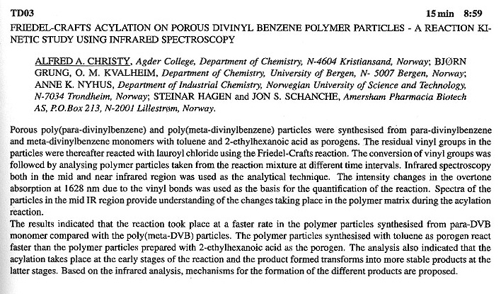 FRIEDEL-CRAFTS ACYLATION ON POROUS DIVINYL BENZENE POLYMER PARTICLES