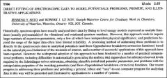 Thumbnail of DIRECT FITTING OF SPECTROSCOPIC DATA TO MODEL POTENTIALS: PROBLEMS, PROMISE, AND ILLUSTRATIVE APPLICATIONS