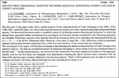 Thumbnail of THE FIVE FIRST VIBRATIONAL STATES OF THE WATER MOLECULE: ROTATIONAL ENERGY AND LINE INTENSITY ANALYSES