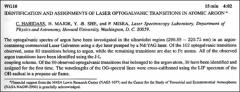 Thumbnail of IDENTIFICATION AND ASSIGNMENTS OF LASER OPTOGALVANIC TRANSITIONS IN ATOMIC $ARGON^{a}$