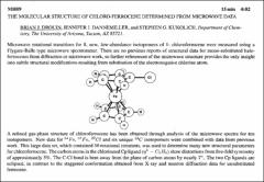 Thumbnail of THE MOLECULAR STRUCTURE OF CHLORO-FERROCENE DETERMINED FROM MICROWAVE DATA