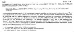 Thumbnail of DISPERSED FLUORESCENCE SPECTROSCOPY OF PdC: ASSIGNMENT OF THE $^{1}\Sigma^{+}$ GROUND STATE AND OBSERVATION OF LOW-LYING STATES