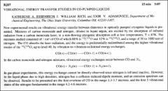 Thumbnail of VIBRATIONAL ENERGY TRANSFER STUDIES IN CO-PUMPED LIQUIDS