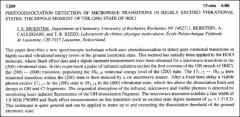 Thumbnail of PHOTODISSOCIATION DETECTION OF MICROWAVE TRANSITIONS IN HIGHLY EXCITED VIBRATIONAL STATES: THE DIPOLE MOMENT OF THE (200) STATE OF HOCl