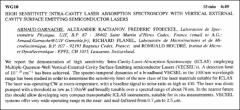 Thumbnail of HIGH SENSITIVITY INTRA-CAVITY LASER ABSORPTION SPECTROSCOPY WITH VERTICAL EXTERNAL CAVITY SURFACE EMITTING SEMICONDUCTOR LASERS