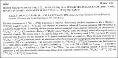 Thumbnail of DIRECT OBSERVATION OF THE 2 $^{3}\Pi_{u}$ STATE OF $Rb_{2}$ IN A PULSED MOLECULAR BEAM: ROTATIONAL-BRANCH INTENSITY ANOMALIES IN THE 2 $^{3}\Pi_{u}(1_{u}) - X^{1}\Sigma^{+}_{g}(0^{+}_{g})$ BANDS