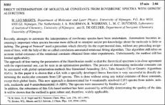 Thumbnail of DIRECT DETERMINATION OF MOLECULAR CONSTANTS FROM ROVIBRONIC SPECTRA WITH GENETIC ALGORITHMS