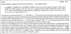 Thumbnail of OBSERVATION OF HIGH LYING LEVELS OF THE $I_{g} - 1^{1}\Pi_{g}$ STATE OF $K_{2}$
