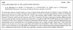 Thumbnail of X-RAY SPECTROSCOPY OF THE LIQUID WATER SURFACE
