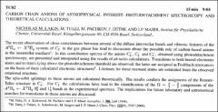 Thumbnail of CARBON CHAIN ANIONS OF ASTROPHYSICAL INTEREST: PHOTODETACHMENT SPECTROSCOPY AND THEORETICAL CALCULATIONS