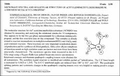 Thumbnail of MICROWAVE SPECTRA AND MOLECULAR STRUCTURE OF ACETYLENEMETHYLDIOXORHENIUM, A RHENIUM $METALACYCLOPROPENE^{a}$