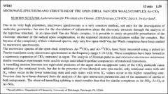 Thumbnail of MICROWAVE SPECTRUM AND STRUCTURE OF THE OPEN-SHELL VAN DER WAALS COMPLEX $Ar-ClO_{2}$