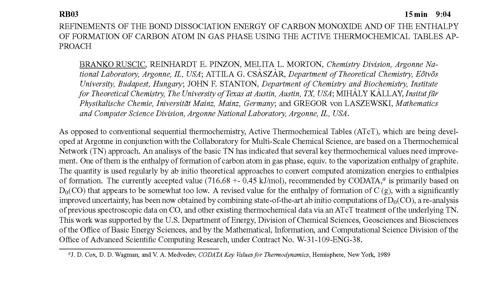 REFINEMENTS OF THE BOND DISSOCIATION ENERGY OF CARBON MONOXIDE AND ...