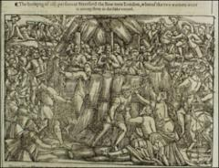 Thumbnail of Thirteen martyrs at Stratford the Bow; women go into flames unchained. \